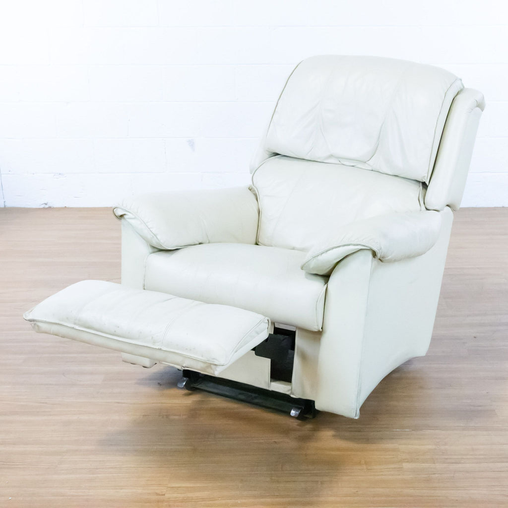 Pair of Lazy Boy White Leather Recliners