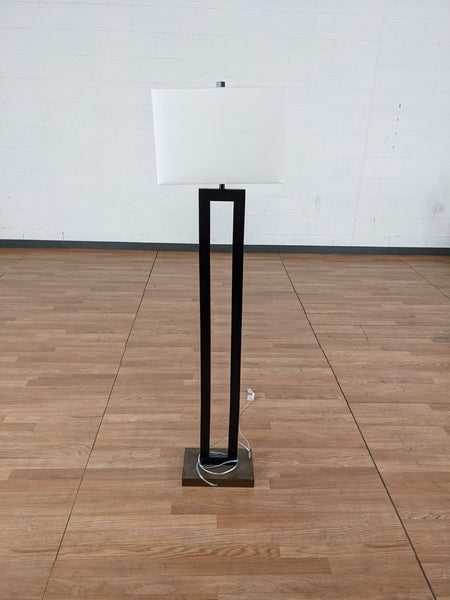 Floor Lamp with Black Metal Frame and White Shade