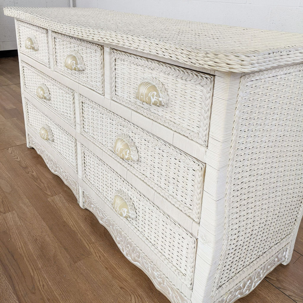 Pier 1 Furniture Solid Wood and Wicker Dresser