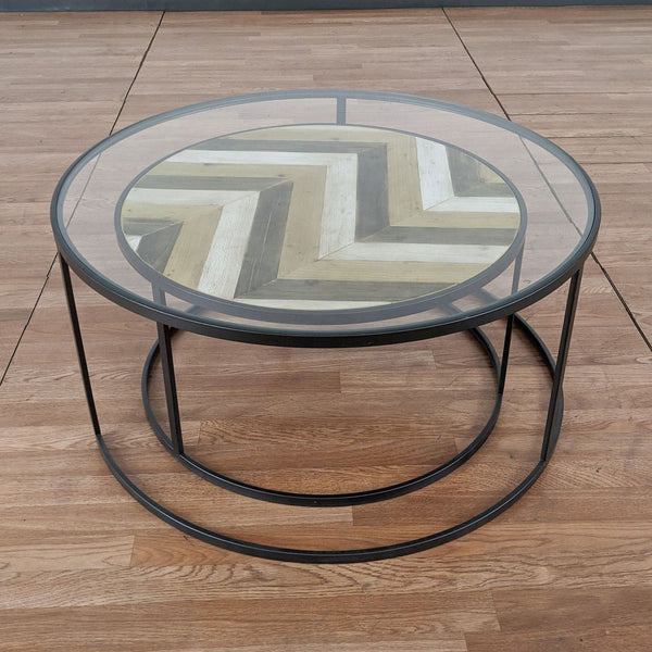Two-Piece Glass and Wood Nesting Coffee Table