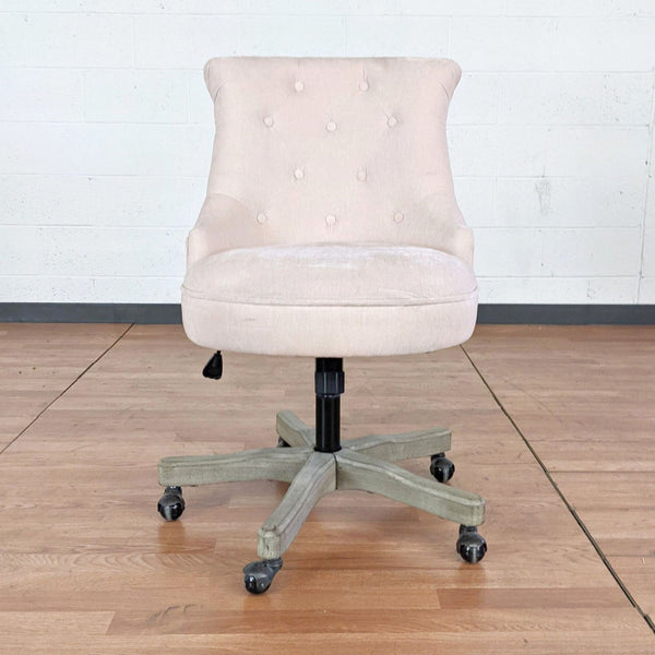 World Market Elsie Upholstered Office Chair in Blush