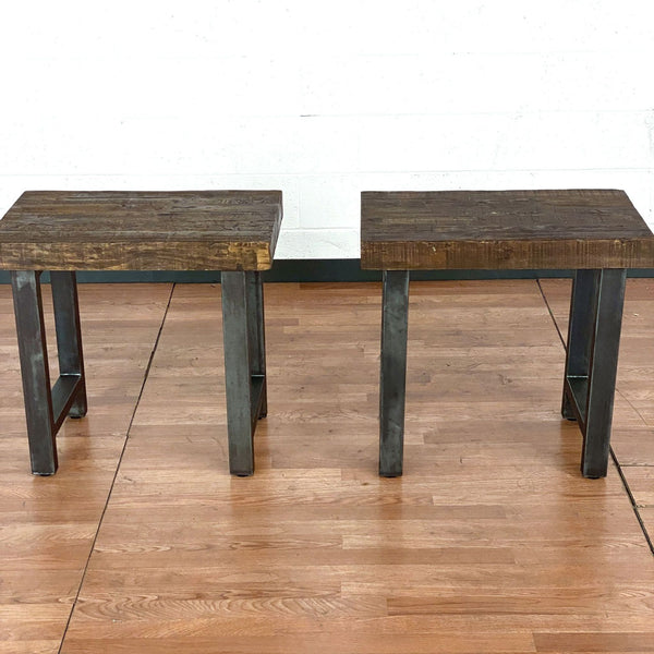 Pair of Pottery Barn Griffin Reclaimed Wood End Tables