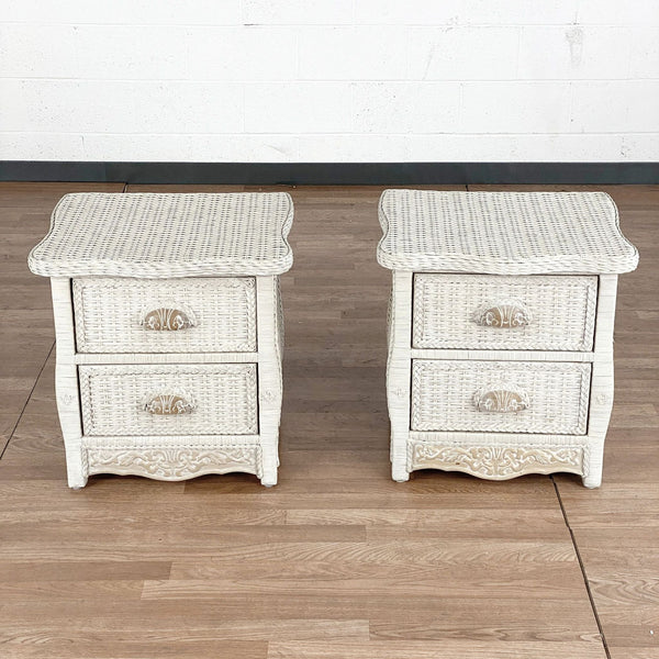 Pair of Wick White Wicker Nightstands