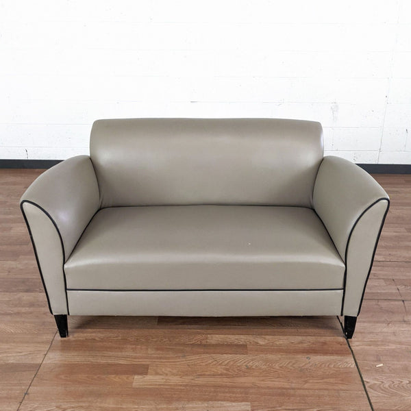 Taupe Leather Look Upholstered Loveseat