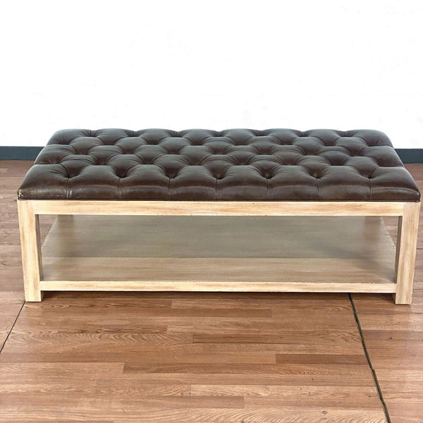 Lorts Custom Built Leather Top Coffee Table