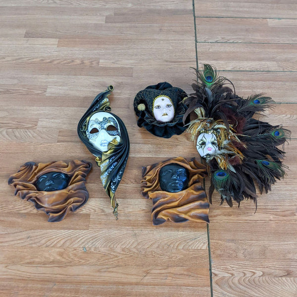 Group of Venetian Carnevale Masks & Contemporary Ceramic Masks