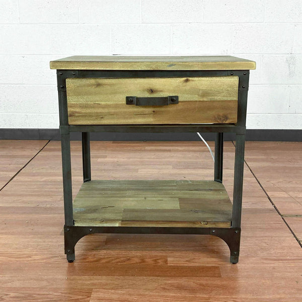 Wood and Metal Nightstand