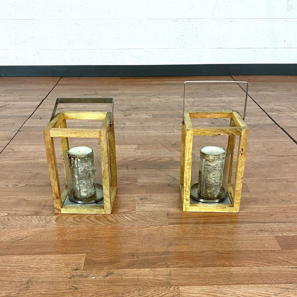 Pair of Wood & Metal Candle Holders