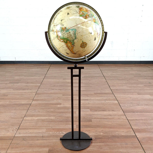 World Floor Globe on Metal Stand