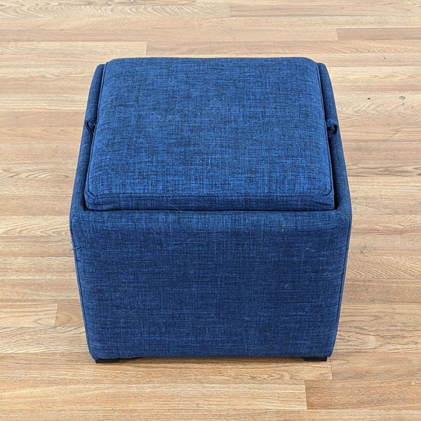 Blue Upholstered Ottoman with Reversible Tray