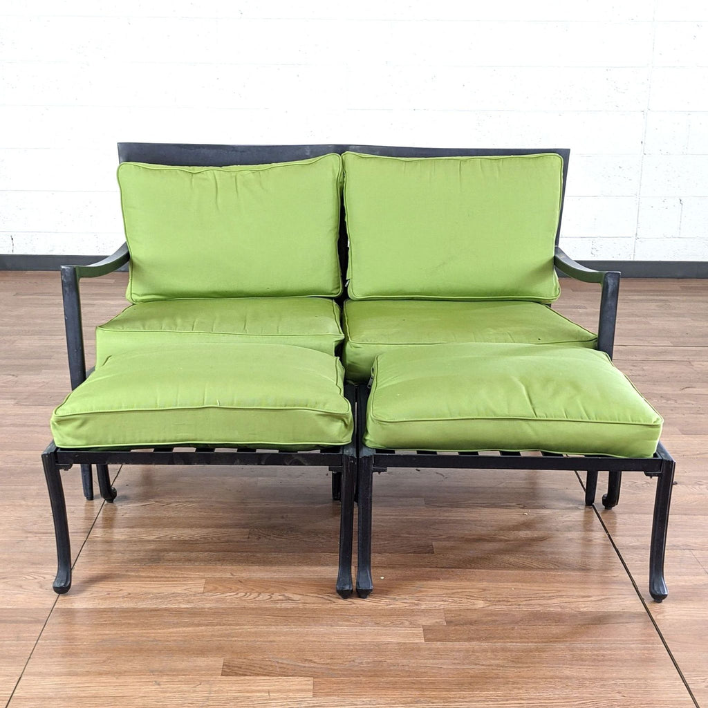 Outdoor Chair with Green Cushions