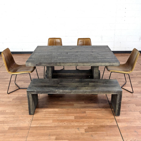 West Elm Emmerson Reclaimed Wood Dining Table and Bench with Slope Leather Dining Chairs