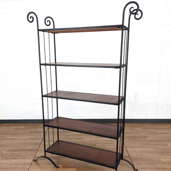 Five-Tier Wood and Metal Bookcase