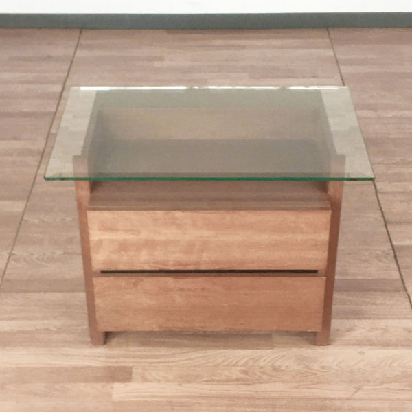Glass Top Two Drawer Wooden End Table