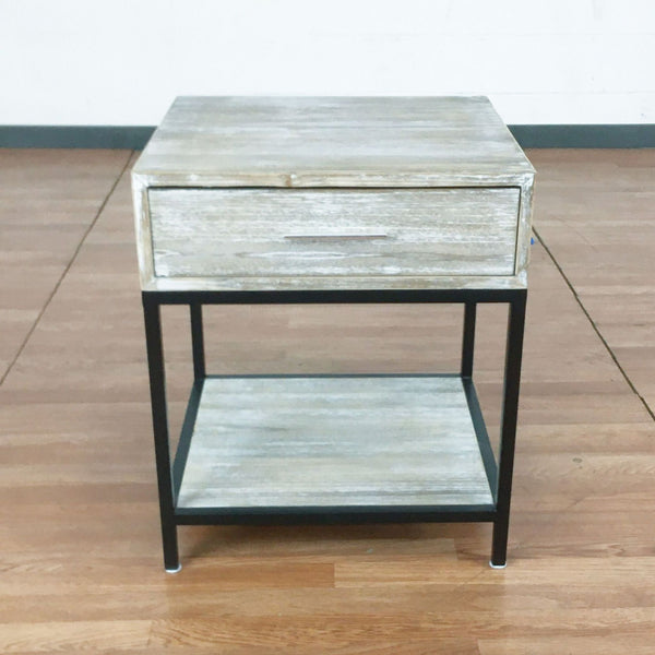 One Drawer Wood and Metal End Table