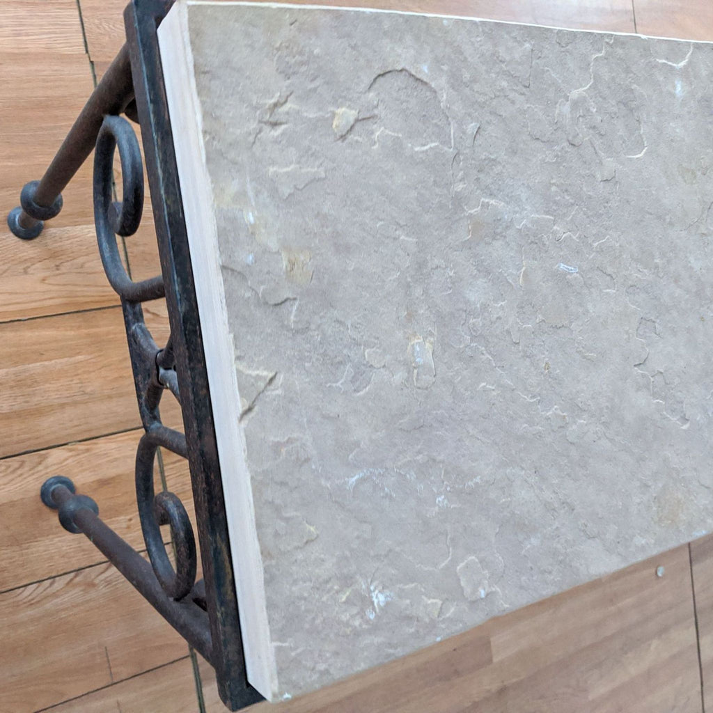 Stone Top Metal Console Table