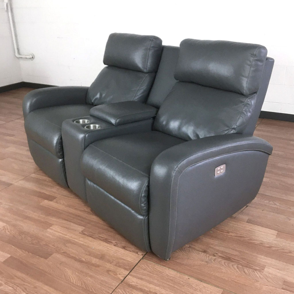 Living Spaces Reclining Loveseat with Media Console