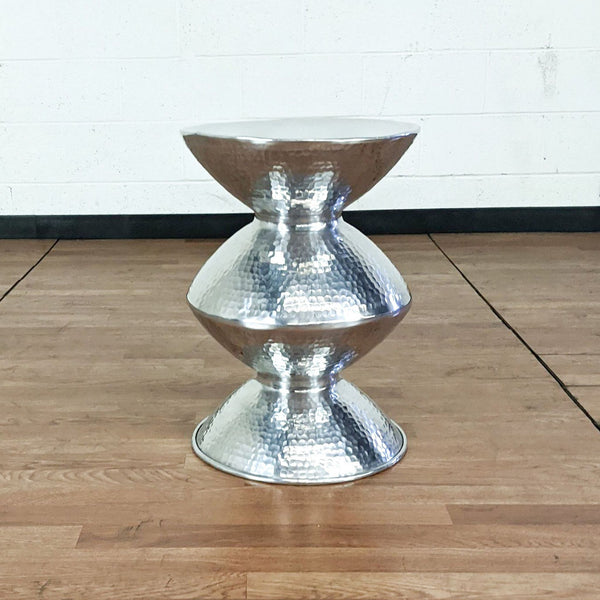 Hammered Metal Accent Table