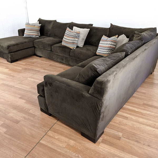 Living Spaces Brown Upholstered Sectional Sofa
