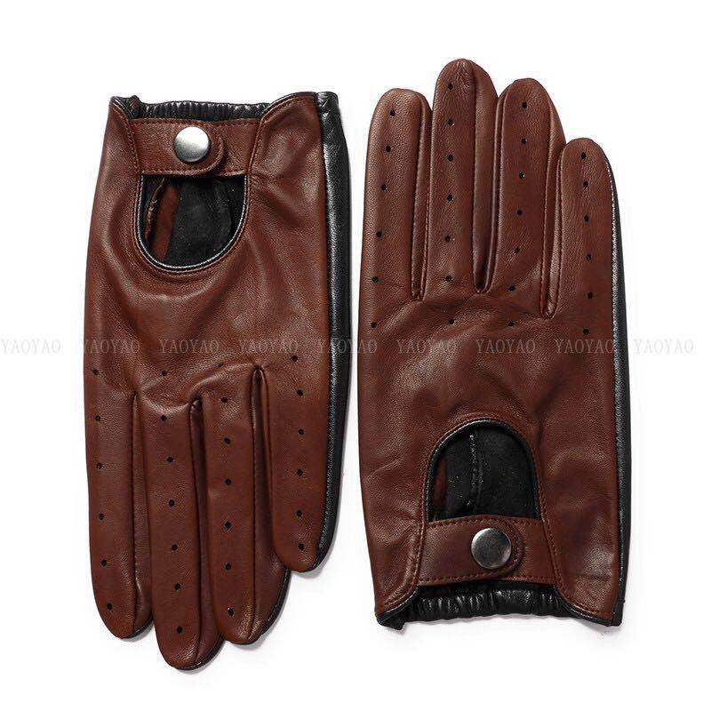Gants Aviateur Cuir Perforé Marron