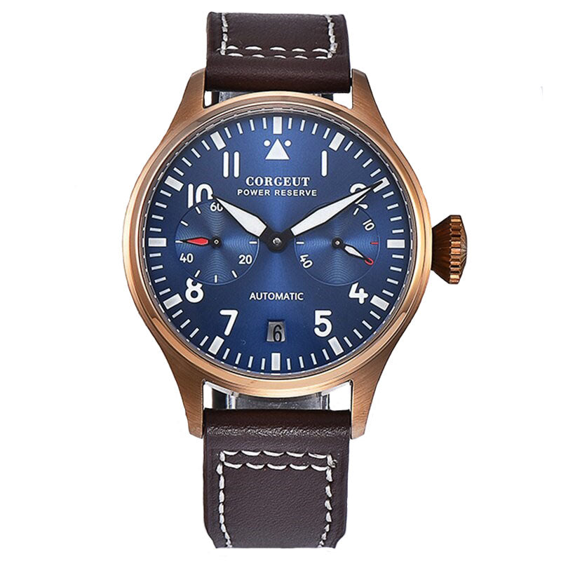 Montre Aviateur Automatique Vintage Blueu et Or