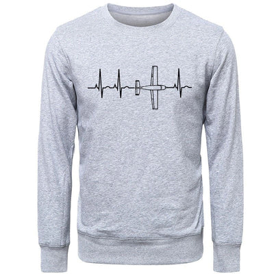 Pull Avion Battements Cardiaque Gris