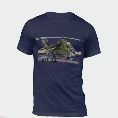 T-shirt Helicoptere MI-24 Bleu