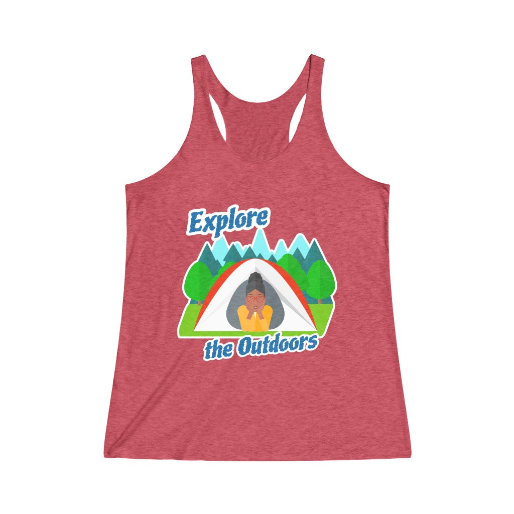 Explore the Outdoors In Tent Women's Racerback Tank
