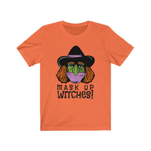Mask Up Witches Halloween Short Sleeve Tee