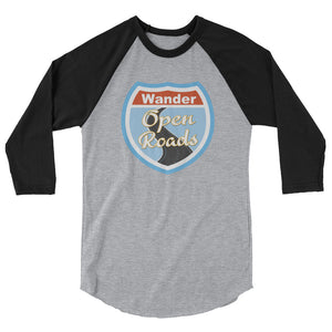 Wander Open Roads 3/4 sleeve raglan shirt