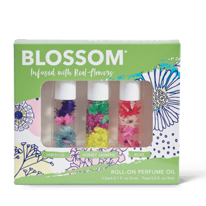 Blossom 3-piece Roll-on perfume oil set - hibiscus, honey jasmine, and rose scents all infused with real flowers