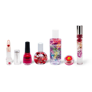 Blossom Simply Red Six Piece Bundle includes 1 Red Color-Changing Crystal Lip Balm,  1  Knock Out Rose Nail Lacquer, 1 Rose Cuticle Oil (1 oz.), 1 Lavender All-Natural Nail Polish Remover,   1 Red Double Dip Lip Duo, Lip Gloss 1 Rose Roll-on Perfume Oil all infused with real flowers