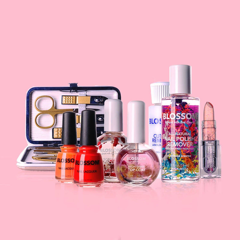 Blossom Love Bundle - 1  Pink Nail Kit, 1  Pink High Shine Top Coat, 1  Poppy Nail Lacquer, 1  Geranium Nail Lacquer, 1  Lavender Nail Polish Remover, 1  Rose Cuticle Oil (1 oz.), 1  Lanolin-Enriched Cuticle Remover 1,  Blush Shimmering Color-Changing Lip Balm