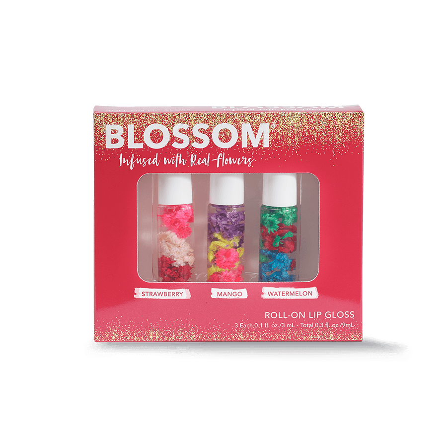 Blossom Winter Three-Piece Roll on lip gloss set - strawberry, mango and watermelon lip gloss