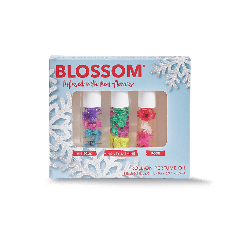 Blossom 3-piece Winter Set Roll-On Perfume Oil Hibiscus, Honey Jasmine and Rose Scents Infused with Real Flowers