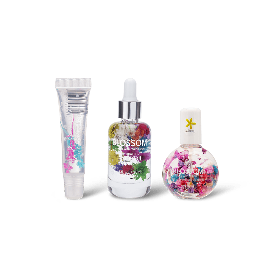Blossom making a splash savings bundle - Raspberry Moisturizing Lip Gloss Tube, Spring Hydrating Face Oil, and Jasmine One Ounce Cuticle Oil