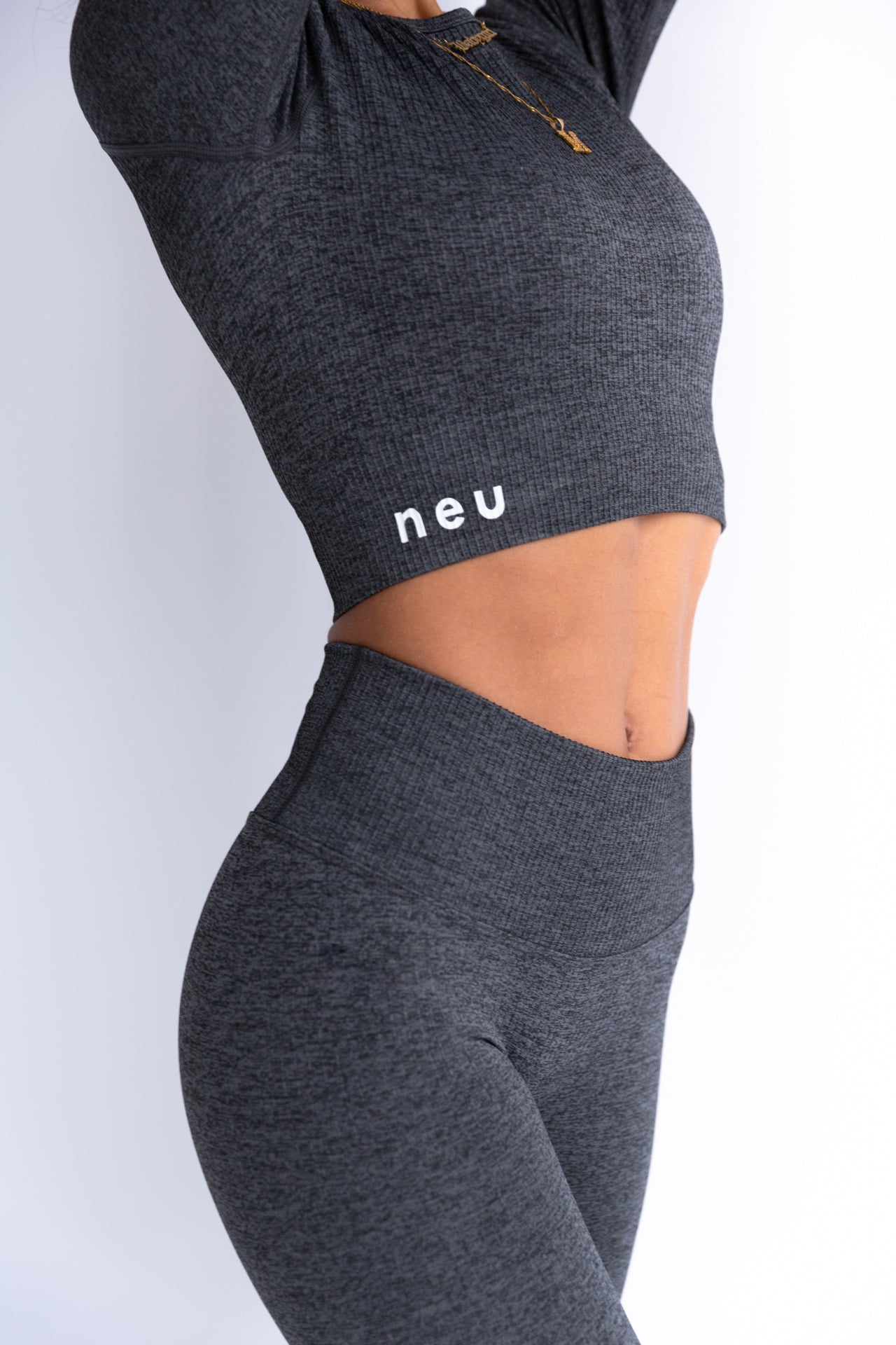 Graphite Grey Ribbed Seamless Leggings