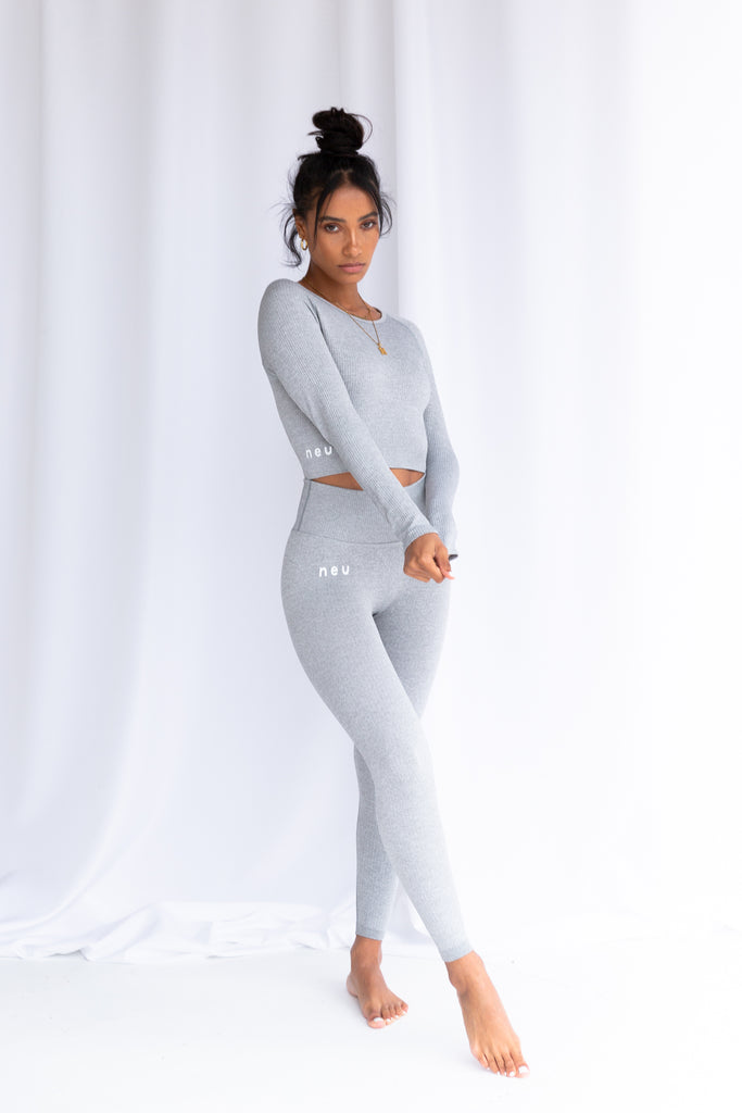 Baby Grey Ribbed Seamless Leggings