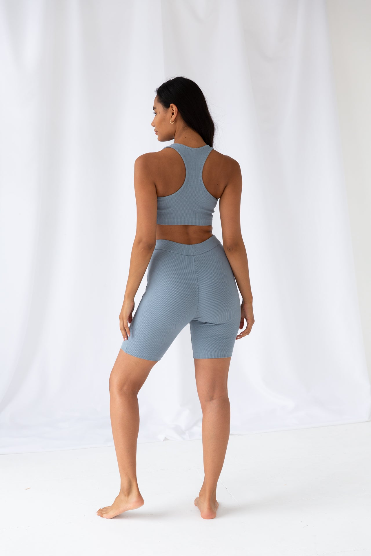 Washed Blue Ribbed Racer Sport Crop