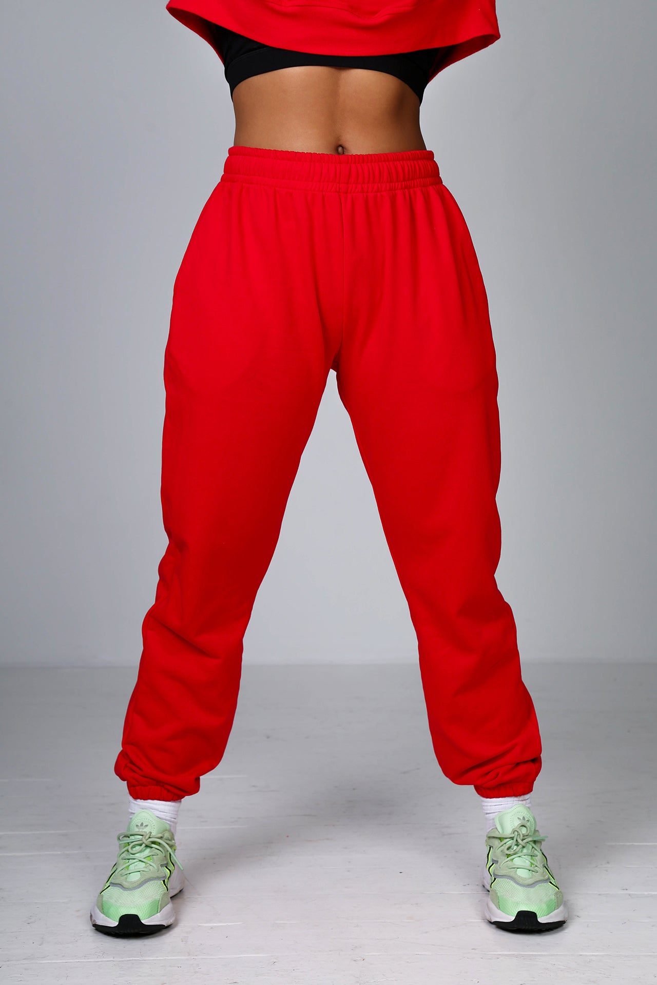 Off Duty Boyfriend Joggers in Cult Red
