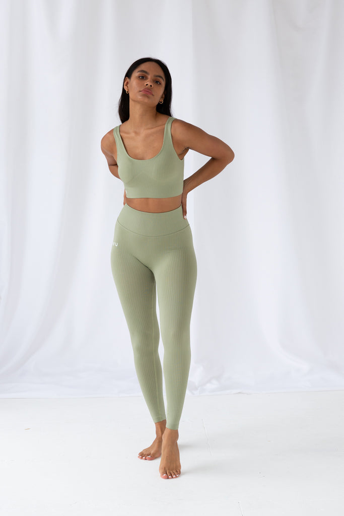 Desert Sage Ribbed Seamless Leggings
