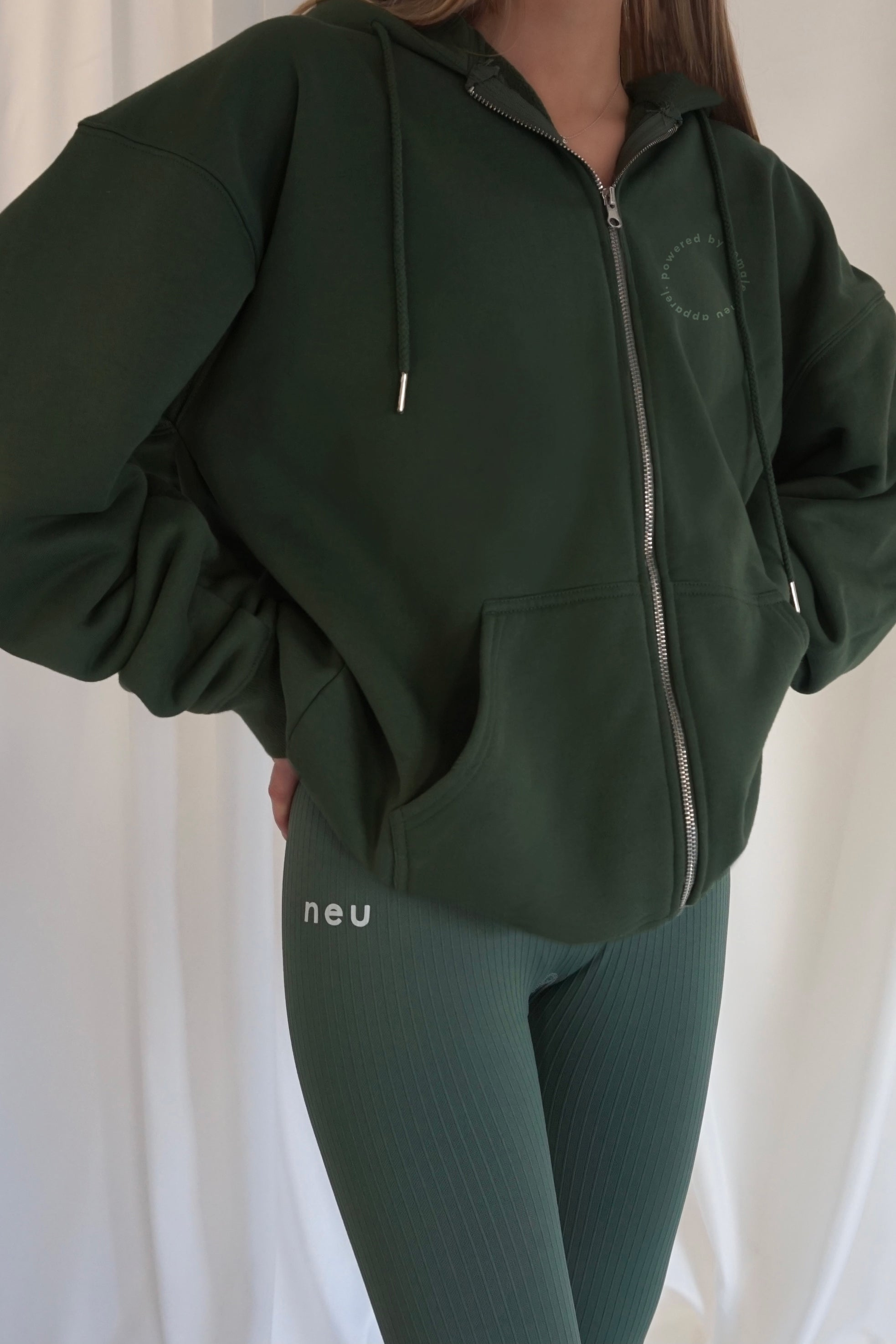 Premium Heavyweight Zip Up Hoodie - Forest Green