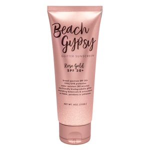 Beach Gypsy SPF 30+ with Rose Gold Glitter 4 oz.