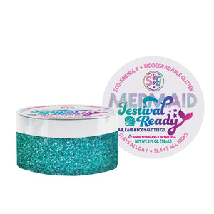 Mermaid Festival Ready Biodegradable glitter gel 2 fl oz.
