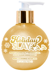 Holiday Slay Moisturizing Gold Glitter Body Gel Warm Sugar Cookie Scent  9 oz bottle