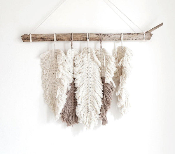 White & Gray Feather Macrame