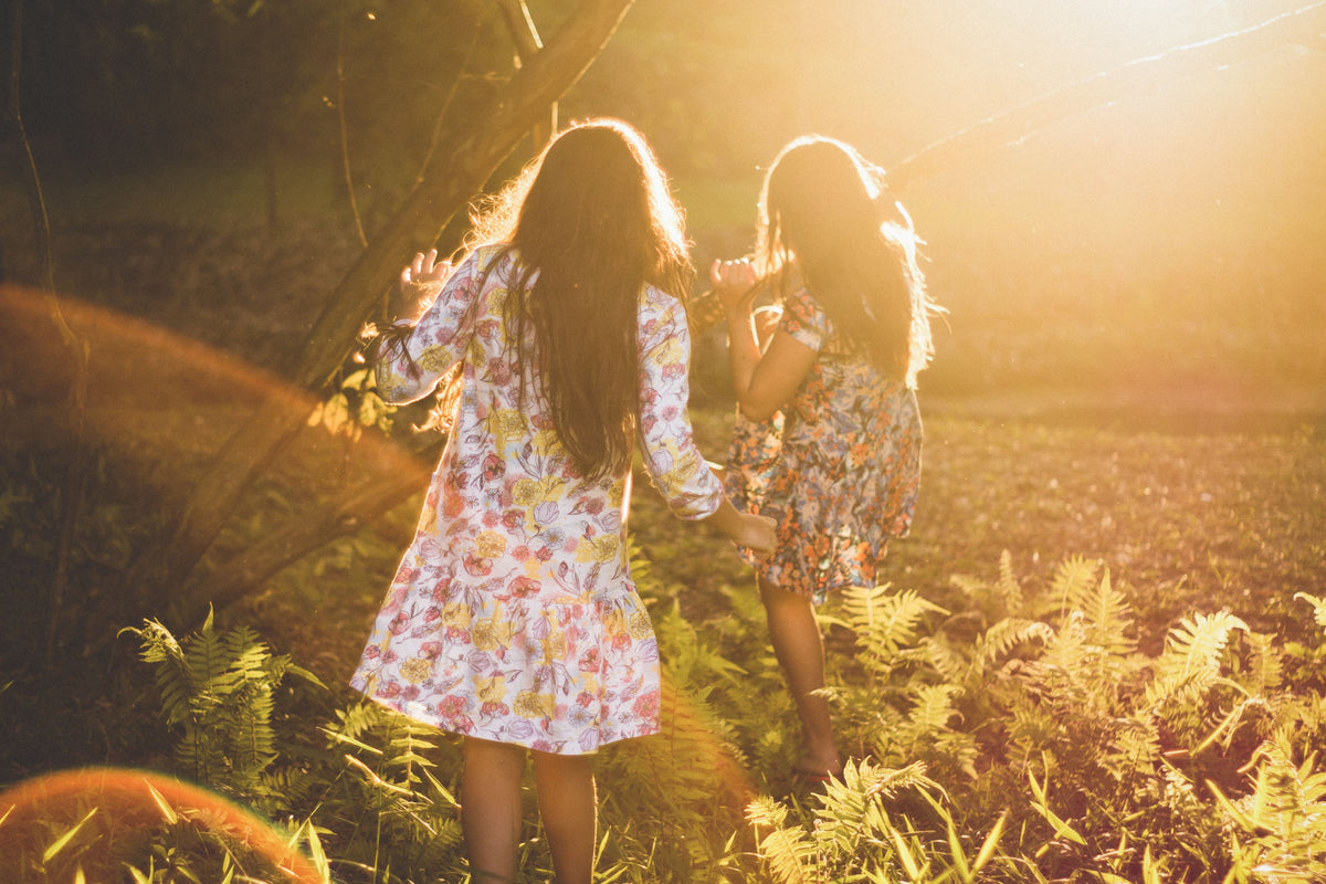Girls Playing in Hippie Dress