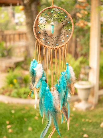 teal and brown faux leather dreamcatcher