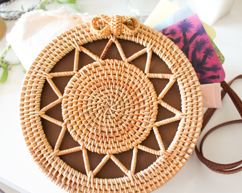 Sunrise in a Purse - Round Rattan Bag - Straw Bag - Straw Purse - Straw Beach Bag - Cottagecore Bag - Pure Chakra