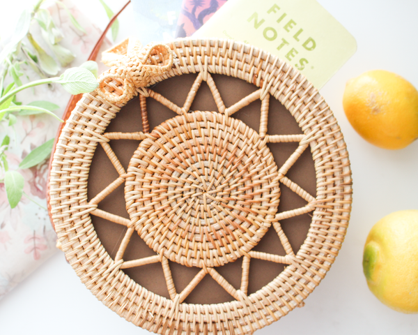 Sunrise in a Purse - Round Rattan Bag - Straw Bag - Straw Purse - Straw Beach Bag - Hippie Bag